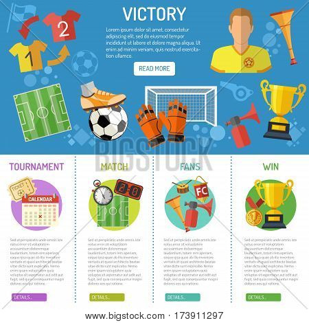 Soccer infographics with flat icons tournament,  player, award and goal, isolated vector illustration