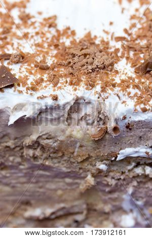 Close Macro View Chocolate Cake Grated Chocolated Background