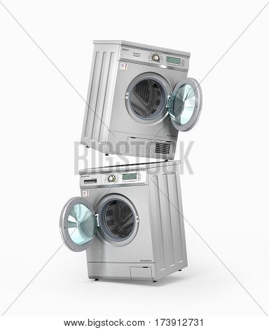 Set of washing and dryer machines on a white background. 3d illustration poster