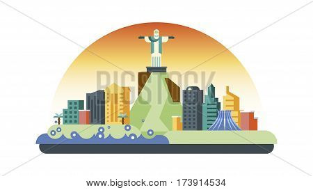 Vector illustration background icon in flat style architecture buildings town country travel Brazil South America, Rio de Janeiro statue Christ Savior, top mountain Corcovado, skyscrapers, welcome