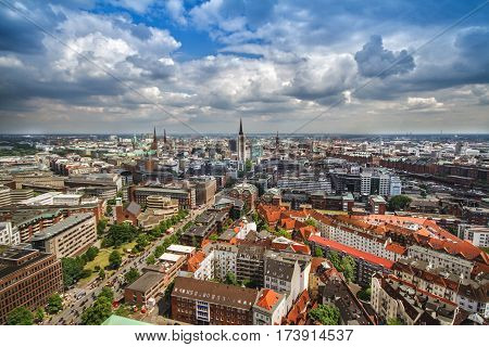 Overlook from tower to the old town part of Hamburg Germany
