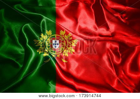 Portugal National Flag With Coat Of Arms Waving In The Wind 3D Illustration