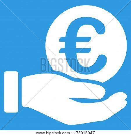 Euro Coin Payment Hand vector pictogram. Illustration style is a flat iconic white symbol on blue background.