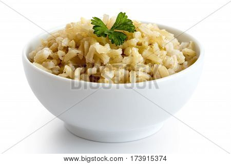 Bowl Of Cooked Long Grain Brown Rice With Green Parsley Isolated On White.
