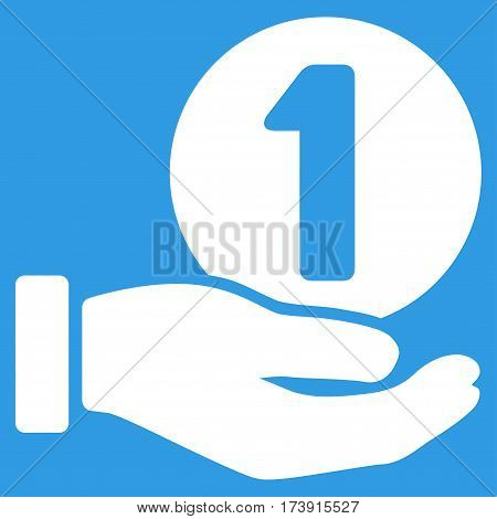 One Coin Payment Hand vector pictogram. Illustration style is a flat iconic white symbol on blue background.