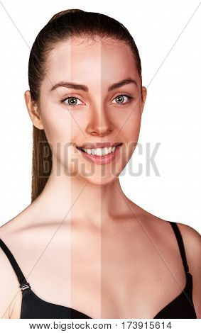 Beautiful young woman before and after tanning over white background.