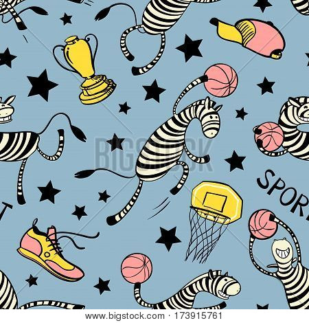 Basketball game seamless pattern with doodle cute zebra player. Background with sport attribute - cup basket shoe stars ball. Action poses. Vector illustration