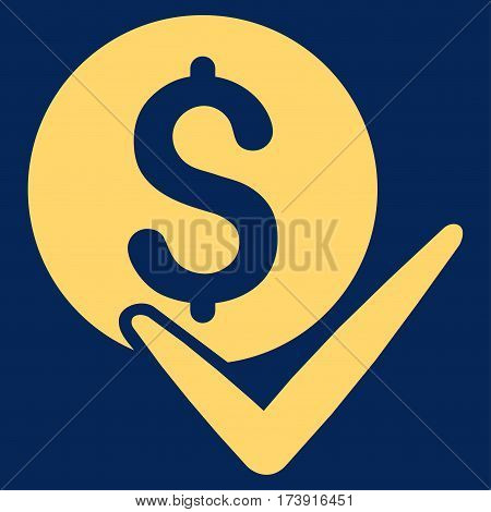 Accept Payment vector icon. Illustration style is a flat iconic yellow symbol on blue background.