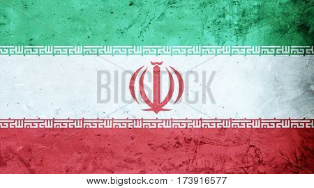 Iranian flag cement texture. Abstract flag background