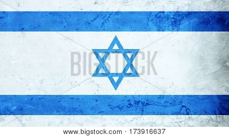 Israeli flag cement texture. Abstract flag background