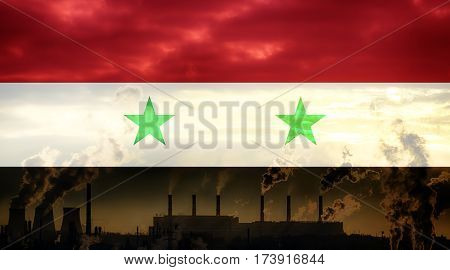 Syrian flag against industrial landscape. Abstract flag background