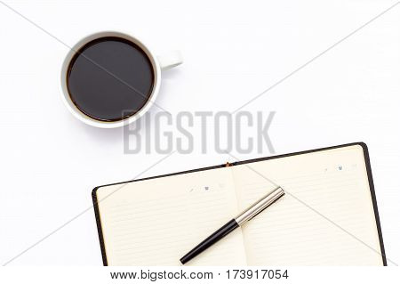 The Black Open Diary, Pen And A Cup Of Black Coffee On White Background