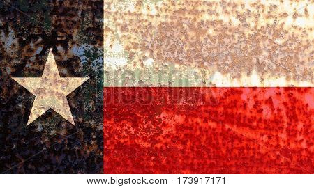 Texas flag rusty metal texture. Abstract flag background