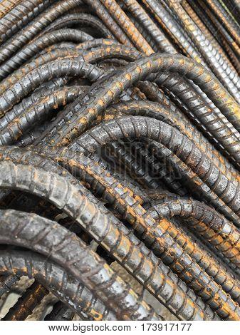 close up steel rebars for reinforcement concrete
