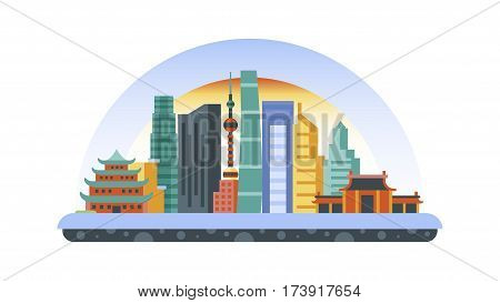 Stock vector illustration background icon in flat style architecture buildings and monuments town city country travel flyer, printed Chinese Bungalows, China, Beijing, Shanghai, Chinese culture