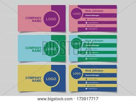 Business name cards with two-colored retro design for business branding. Set of three vector illustrations of mockup with front and back view in three colors isolated on plain background.