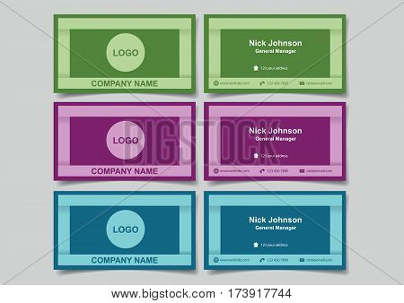 Business name cards with 3D frame design for business branding. Set of three vector illustrations of mockup with front and back view in cool colors isolated on plain background.