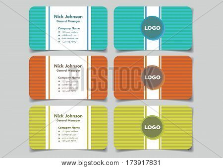 Business name card with horizontal stripe pattern background design in fun and vibrant colors for business branding. Set of three mock up vector illustrations in front and back view isolated on plain background.
