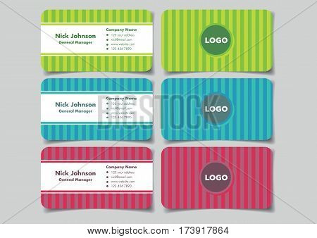 Business name card with vertical stripe background design for fun and modern branding. Set of three mock up vector illustrations in front and back view isolated on plain background.