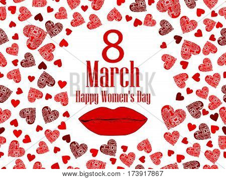 8 March Day. International Women's Day. Female Lips And Heart. Vector Illustration