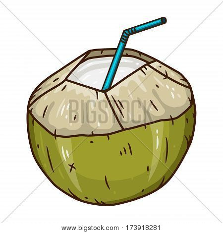 Coconut Water Drink. Green fresh drinking coconut isolated on white background