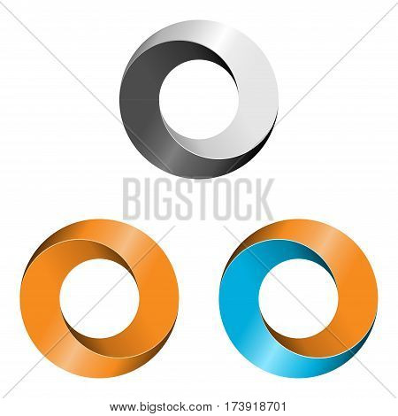 Set of three abstract circle logo isolated on white background