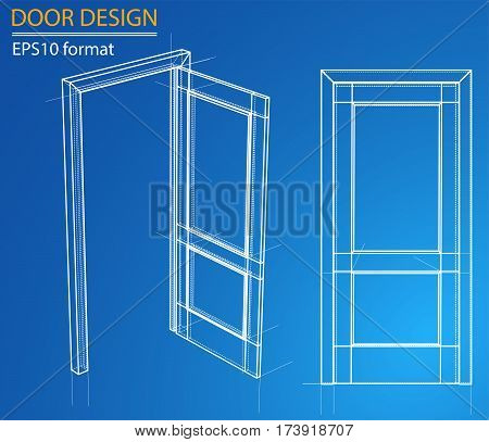Design and manufacture of doors. Wire-frame style. Perspective Blueprint. 3D Rendering Vector Illustration. EPS10 format