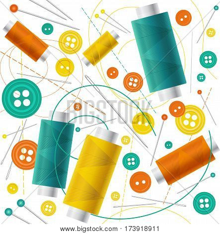 Seamless pattern in flat style, colorful spools of thread, buttons and needles for sewing and needlework