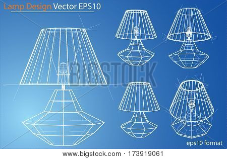 Design and manufacture of home lamps. Wire-frame style. Perspective Blueprint. 3D Rendering Vector Illustration. EPS10 format