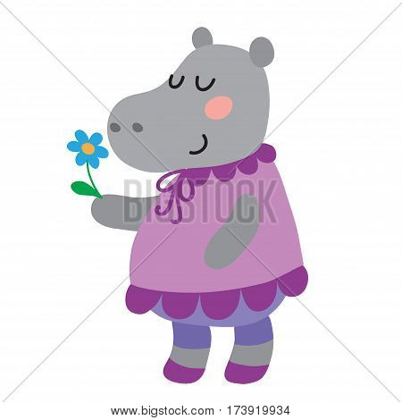Cute cartoon hippopotamus isolated on white background