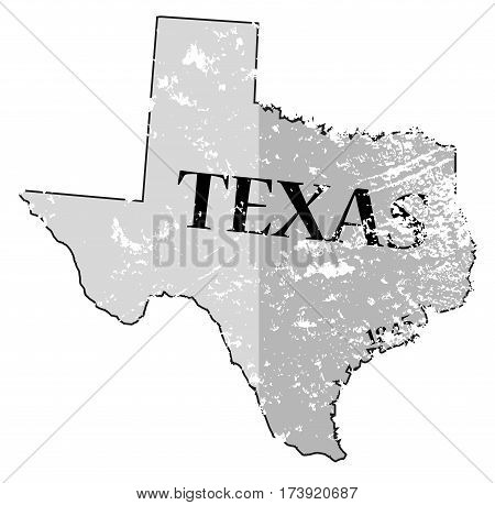 Texas State And Date Map Grunged