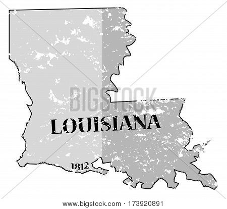 Louisiana State And Date Map Grunged