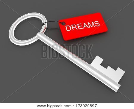 3d key with label dreams. rendered illustration