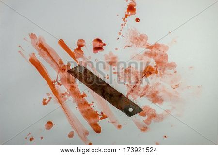 Bloody Knife With Blood Splatter Isolated