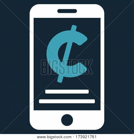 Cent Mobile Payment vector pictogram. Illustration style is a flat iconic bicolor blue and white symbol on dark blue background.