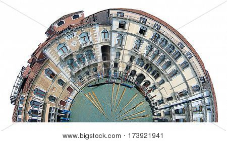 Buildings along the Grand Canal in Venice distorted into a half circle.