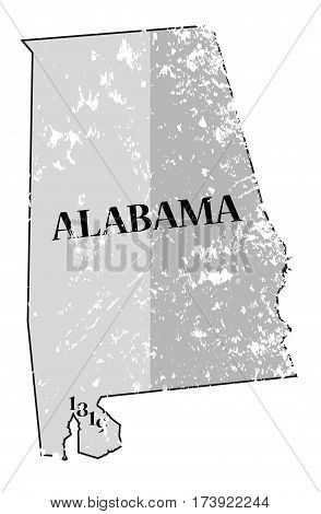 Alabama State And Date Map Grunged