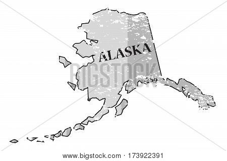 Alaska State And Date Map Grunged