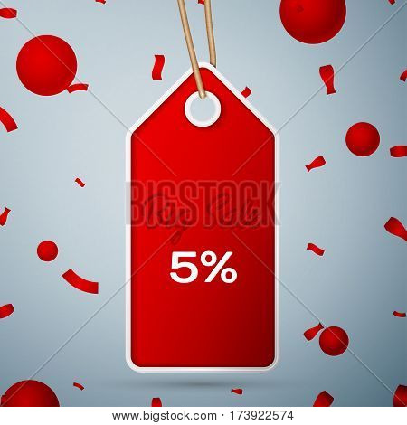 Red pennant with an inscription Big Sale five percent Discounts over a grey background and confetti. Sale concept for shops store market, web and other commerce. Vector illustration.
