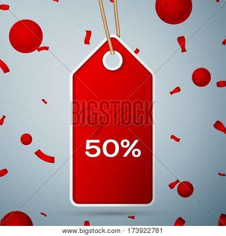 Red pennant with an inscription Big Sale fifty percent Discounts over a grey background and confetti. Sale concept for shops store market, web and other commerce. Vector illustration.