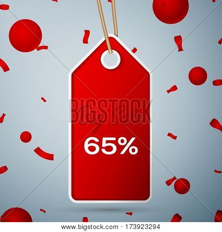 Red pennant with an inscription Big Sale sixty five percent Discounts over a grey background and confetti. Sale concept for shops store market, web and other commerce. Vector illustration.
