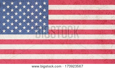 American flag plaster wall. Abstract Flag background.