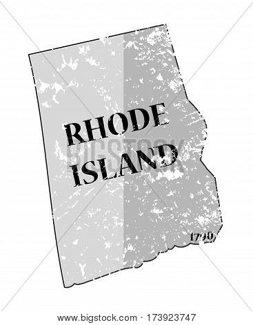 Rhode Island State And Date Map Grunged