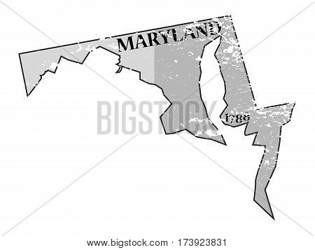 Maryland State And Date Map Grunged