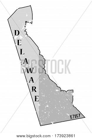 Delaware State And Date Map Grunged