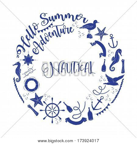 Nautical  sea composition with wind rose and wheel.  Hand drawn elements for summer holidays. Travel, marin and ocean. Vector Illustration