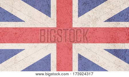 British flag plaster wall. Abstract Flag background.