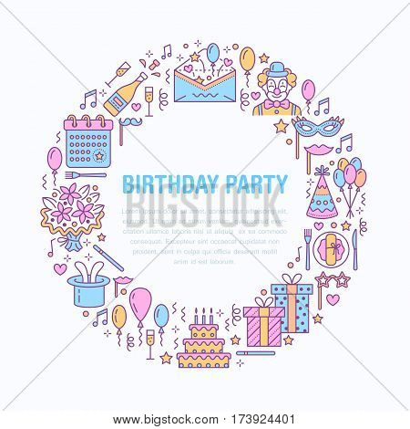 Event agency, birthday party banner with vector line icon of catering, birthday cake, balloon decoration, flower delivery, invitation card, clown. Thin linear sign of party organization service.