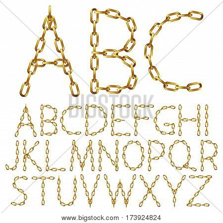 Vector alphabet letters made from golden chain isolated on white