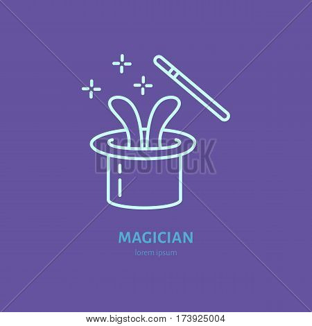 Magician line icon. Vector logo for illusionist, party service or event agency. Linear illustration of magic wand and rabbit in hat.